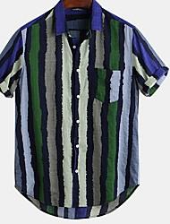 cheap -Men's Striped Graffiti Shirt Daily Button Down Collar Red / Green / Short Sleeve