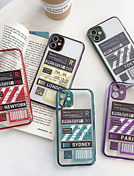 cheap -First Class World City Label Bar code Phone Case For iPhone SE 2020 / 11 / 11Pro / 11 Pro MAX /  X /XS / XR / XS MAX / 8 Plus / 8 / 7Plus / 7 / 6Plus / 6 Flight Ticket Clear TPU Plating Cover