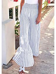 cheap -Women's Basic Slim Wide Leg Pants - Striped Blue Blushing Pink S / M / L