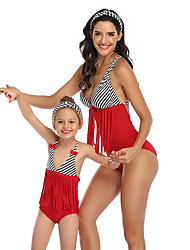 cheap -2 Piece Mommy and Me Active Sweet Black & Red Striped Color Block Backless Bow Tassel Fringe Sleeveless Short Above Knee Swimwear Red