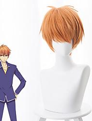 cheap -Fruits Basket Cosplay Wigs Men's Asymmetrical 15 inch Heat Resistant Fiber kinky Straight Orange Orange Anime