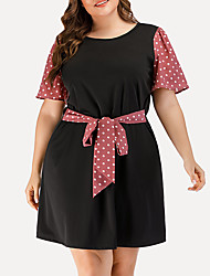 cheap -Women's Plus Size A Line Dress - Short Sleeves Polka Dot Solid Color Patchwork Summer Casual Elegant Daily Going out 2020 Black L XL XXL XXXL XXXXL