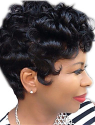 cheap -Synthetic Wig Curly Pixie Cut Wig Short Natural Black Synthetic Hair 12 inch Women's Simple Life Women Black