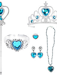 cheap -Princess Crown Outfits Masquerade Girls' Movie Cosplay Cosplay Halloween Blue 1 Ring Bracelet Crown Halloween Carnival Masquerade Plastic / Necklace / Earrings / Wand / Earrings / Necklace