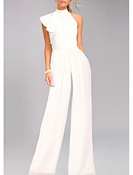 cheap -Jumpsuits Elegant White Engagement Prom Dress One Shoulder Sleeveless Floor Length Satin with Draping 2020