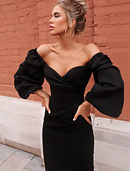 cheap -Women's Wrap Dress Midi Dress - Long Sleeve Letter Ruched Summer Fall Formal Elegant Party Going out Puff Sleeve 2020 Wine Black Yellow Royal Blue XS S M