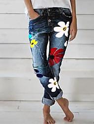 abordables -Femme Chic de Rue Quotidien Jogger Pantalon - Fleur Imprimé Extérieur Noir Bleu Gris S M L