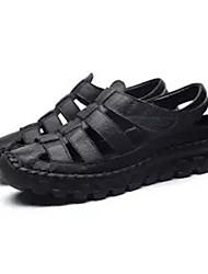 cheap -Women's Sandals Flat Sandals Leather Sandals Spring & Summer Flat Heel Round Toe Daily PU Black / Brown / Beige