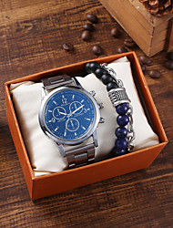 cheap -Men's Steel Band Watches Quartz Classic Chronograph Analog Light Blue / Stainless Steel / Large Dial
