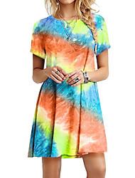 abordables -Femme Robe Trapèze Mini robe Courte Manches courtes Eté - Simple Teinture par Nouage 2020 Bleu Violet Fuchsia Orange Bleu clair S M L XL XXL XXXL
