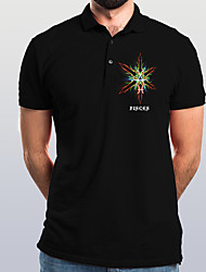 cheap -Men's Abstract Graphic Polo Basic Elegant Daily Going out Black