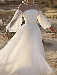 cheap -A-Line Wedding Dresses Jewel Neck Sweep / Brush Train Lace Chiffon Over Satin Long Sleeve Country See-Through with Sashes / Ribbons Beading 2020