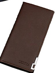 cheap -Men's PU Leather Wallet Solid Color Black / Brown / Fall & Winter