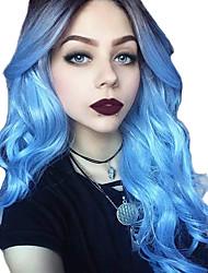 Недорогие -Синтетические кружевные передние парики Волнистый Средняя часть Лента спереди Парик Омбре Длинные Черный / синий Искусственные волосы 18-26 дюймовый Жен. Косплей Регулируется Для вечеринок Синий Омбре