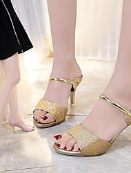 cheap -Women's Sandals Summer Stiletto Heel Peep Toe Daily PU Black / Purple / Gold