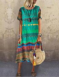 cheap -Women's A Line Dress Knee Length Dress Blue Yellow Green Red Short Sleeve Print Summer V Neck Casual Mumu 2021 S M L XL XXL 3XL 4XL 5XL