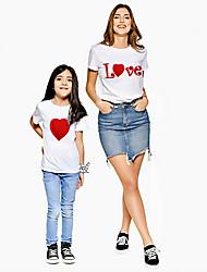 abordables -Maman et moi Actif Basique Graphique Lettre Imprimé Manches Courtes Normal Tee-shirts Blanche