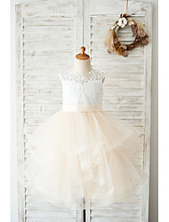 cheap -Ball Gown Knee Length Wedding / Birthday Flower Girl Dresses - Lace / Tulle Sleeveless Jewel Neck with Belt / Tiered