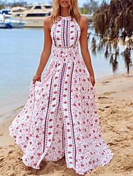cheap -Women's Sheath Dress Maxi long Dress - Short Sleeves Floral Summer Sexy Mumu 2020 White S M L XL XXL
