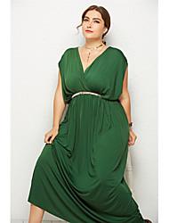 Недорогие -Жен. Платье в стиле 50-х годов Длинное платье - Короткие рукава Сплошной цвет Пайетки Лето Элегантный стиль Винтаж Для вечеринок На выход 2020 Винный Черный Зеленый Тёмно-синий Темно синий M L XL XXL