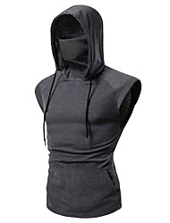 cheap -Men's Solid Colored Patchwork T-shirt Basic Street chic Daily Sports Hooded Wine / Black / Gray / Sleeveless