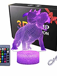 cheap -Dinosaur 3D Night Light for Kids Dinosaur Toys for Boys 16 Colors Dinosaur Lamp with Remote Cool Gift for Dinosaur Birthday Party Supplies