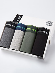 cheap -Men's Sports Underwear Sport Briefs Athletic 4pcs Boxer Briefs Trunks Bottoms Cotton Sport Running Walking Jogging Breathable Quick Dry Soft Black Green Navy Blue Gray Fashion / Stretchy