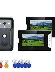 cheap -7 Inch 2Monitors Video Intercom Door Phone RFID System with HD Doorbell 1000TVL Camera