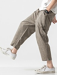 cheap -Men's Sporty Chinoiserie Loose Cotton Chinos Pants - Solid Colored Drawstring Comfort Black Light gray Dark Gray US32 / UK32 / EU40 / US34 / UK34 / EU42