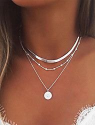 cheap -Women's Necklace Layered Necklace Stacking Stackable Simple European Fashion Chrome Gold Silver 35 cm Necklace Jewelry 1pc For Party Evening Prom Street Beach