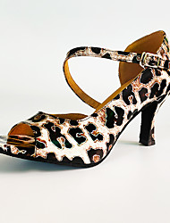 cheap -Women's Latin Shoes PU Ankle Strap Heel Leopard Flared Heel Customizable Dance Shoes Black