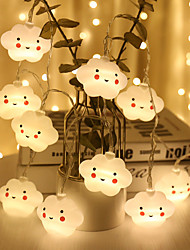 cheap -1.5M 10LEDs White Smile Cloud Led String Fairy Holiday Lights Flexible Garland Home Wedding Christmas Decor AA Battery Operated Warm White Lighting For Kids Room Lighting (come without battery
