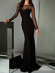 cheap -Mermaid / Trumpet Elegant Black Party Wear Formal Evening Dress Illusion Neck Long Sleeve Sweep / Brush Train Tulle with Sequin 2020