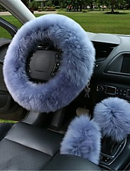 cheap -3Pcs Winter Furry Car Steering Wheel  Gear Knob Shifter Parking Brake Covers Set