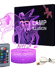 cheap -Night Light 16 Colors Changing 3D Optical Illusion Bedside Lamps with Remote Best Gift Idea for Kids Room Dcor or Birthday Gifts for Girls Women (Unicorn New)