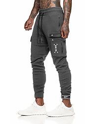 cheap -Men's High Waist Running Pants Track Pants Sports Pants Athletic Bottoms Drawstring Cotton Running Walking Jogging Training Breathable Moisture Wicking Soft Sport Black Dark Gray Solid Colored Fashion