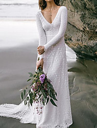 cheap -A-Line Wedding Dresses V Neck Sweep / Brush Train Lace Long Sleeve Boho Sexy Backless with Embroidery 2021