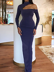 cheap -Mermaid / Trumpet Elegant Purple Party Wear Formal Evening Dress One Shoulder Long Sleeve Floor Length Satin with Sleek 2020