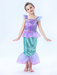 cheap -The Little Mermaid Princess Dress Flower Girl Dress Girls' Movie Cosplay A-Line Slip Vacation Dress Purple Pink Dress Children's Day Masquerade Satin / Tulle