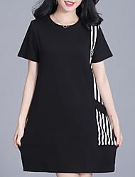 cheap -Women's Shift Dress - Short Sleeves Striped Geometric Color Block Summer Casual Street chic Daily Going out 2020 Black Green M L XL XXL XXXL XXXXL