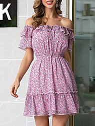 cheap -Women's Lavender Off Shoulder Daily Dress Flare Cuff Sleeve MM0696