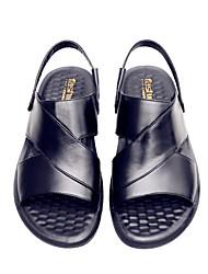 cheap -Unisex Sandals Flat Sandals Leather Sandals Summer Flat Heel Open Toe Daily PU Black / Brown