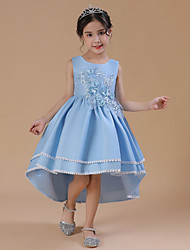 cheap -A-Line Asymmetrical Wedding / Party Flower Girl Dresses - Satin Chiffon Sleeveless Jewel Neck with Bow(s) / Appliques