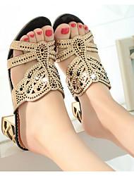 cheap -Women's Sandals Summer Stiletto Heel Peep Toe Daily PU Black / Gold / Green
