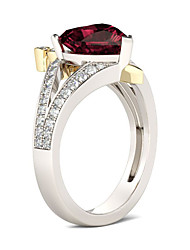 cheap -Personalized Customized Clear Red Cubic Zirconia Ring Classic Gift Promise Festival Geometric 1pcs Silver