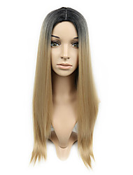 cheap -Synthetic Wig kinky Straight Middle Part Wig Long Black / Brown Synthetic Hair 18 inch Women's Simple Life Classic Black / Blonde