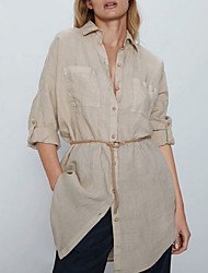 cheap -Summer Linen Long-Sleeve Shirtdress