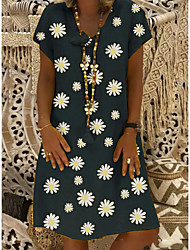 cheap -Women's Plus Size Shift Dress Daisy Knee Length Dress - Short Sleeve Floral Print Summer V Neck Casual Vacation Black Yellow Khaki Green S M L XL XXL XXXL XXXXL