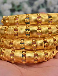 cheap -4pcs Women's Cuff Bracelet Hollow Out Wedding Vintage Theme Luxury Classic Trendy Ethnic Africa 24K Gold Plated Bracelet Jewelry Gold For Christmas Wedding Gift Birthday Festival