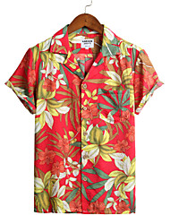 cheap -Men's Floral Shirt - Cotton Tropical Hawaiian Holiday Beach Classic Collar Button Down Collar Red / Short Sleeve